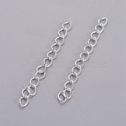 Iron Ends with Twist Chain Extension for Necklace Anklet Bracelet, Cadmium Free & Lead Free, Silver, 50x3.5mm, Links: 5.5x3.5x0.5mm