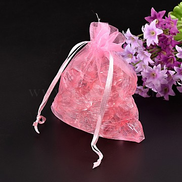 LT.Pink Jewelry Packing Drawable Pouches, Organza Gift Bags, about 10cm wide, 12cm long(X-OP103)