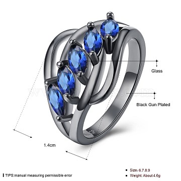 Simple Brass Glass Finger Rings, Blue, Gunmetal, US Size 8(18.1mm)(RJEW-BB20205-A-8)