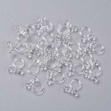 Plastic Clip-on Earring Findings, with Loop, for Non-Pierced Ears, Clear, 11x10x3mm, Hole: 1mm(KY-K012-05)