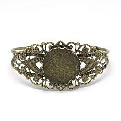 Brass Bangle Making, Blank Bangle Base, with Iron Tray Findings, Flat Round, Antique Bronze, Tray: 25mm; 63.5mm(X-MAK-Q011-72AB)