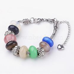 """Pierres précieuses bracelets européennes, avec alliage strass perles européennes, 304 acier inoxydable chaînes de serpent européen et fermoirs homard griffe, colorées, 7-1/8"""" (782mm) x1/8"""" (3mm)(BJEW-JB02565)"""