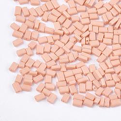 cuisson peinture perles de verre plat, rectangle, lightsalmon, 4~7x3~4x2.5 mm, trou: 0.8 mm; environ 2500 PCs / sachet (SEED-S023-12N)