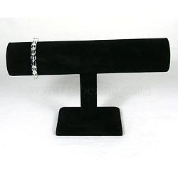 Affichage de la barre de t de bracelet de velours noir, bois et du carton, 24 cm x14.5cm, Tube: 5 24 cmx cm(X-S009)