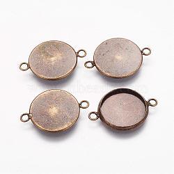 латуни кабошон параметры соединителя, чашки безель с краем, плоские круглые, античная бронза, лоток: 14x1.5 мм; 21.5x16x2.5 мм, отверстия: 1.5 mm(KK-B537-AB)