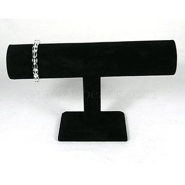 Black Velvet Bracelet T Bar Display, Wood And Cardboard, 24cmx14.5cm, Tube: 5cmx24cm(X-S009)