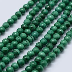 """Chapelets de perles en malachite naturelle, grade AB, rond, 6mm, trou: 0.7mm; environ 63 pcs/chapelet, 15.5"""" (39.5 cm)(G-F571-27AB1-6mm)"""