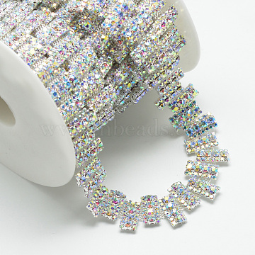 Brass Glass Rhinestone Chains, with Spool, Rhinestone Cup Chain, Crystal AB, Silver Color Plated, 18~20x3.5mm; about 5yards/roll(4.572m/roll)(CHC-S001-15S-AB)