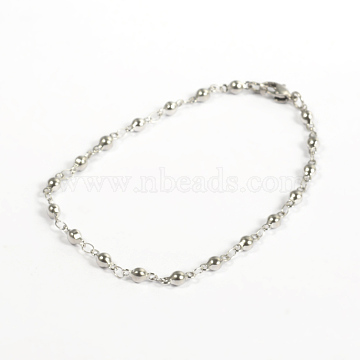 304 Stainless Steel Bracelets, Round Link Bracelets, with Lobster Claw Clasps, Stainless Steel Color, 200x3mm(7.87 inches)(X-BJEW-D418-06)