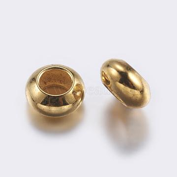 Brass Beads, Rondelle, Golden, 6x3mm, Hole: 3mm(X-KK-K197-32G)