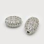 10mm Oval Brass+Cubic Zirconia Beads(X-ZIRC-F001-54P)