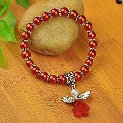 Bracelets d'ange belle avec robe de mariée pour les enfants, bracelets carnaval extensibles, avec verre perles de nacre et de perles de style tibétain, chocolat, 45mm(BJEW-JB00727-18)