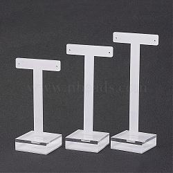 T Bar Earring Displays, Acrylic, White, 10.5x5.4x4cm; 12x5.7x4cm; 13.5x5.7x4cm(EDIS-P002-01)