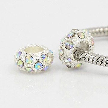 Crystal AB Rhinestone European Alloy Beads Fit Charm Bracelets To Make Jewelry, Rondelle, Silver Color Plated, 11x6mm, Hole: 5mm(X-CPDL-H999-18)