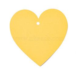 Carte de papier kraft vierge, nacré, carte de signet de bricolage, cœur, jaune, 10x10x0.03 cm, trou: 0.5 cm(DIY-WH0143-07A-08)
