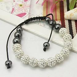 """Valentine cadeaux de la mode pour ses bracelets romantiques, avec des perles strass de grade A , perles d'hématite et corde de nylon, cristal, 2-1/8"""" (55 mm)(X-BJEW-C239-12)"""