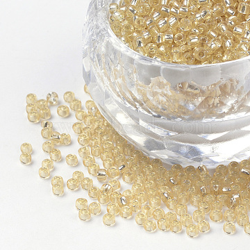 FGB 12/0 Round Glass Seed Beads, Silver Lined, Pale Goldenrod, 12/0, 2x1.5mm, Hole: 0.3mm, about 30000pcs/bag(SEED-Q007-F33)