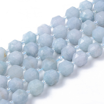 Natural Aquamarine Beads Strands, Round, Dyed, Faceted, 8~9x10mm, Hole: 1.2mm; about 33~35pcs/strand, 15.16inches(38.5cm)(G-R482-02-10mm)