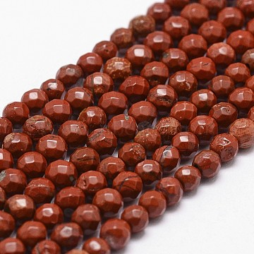 Natural Red Jasper Beads Strands, Grade AB+, Faceted, Round, 4mm, Hole: 1mm, about 96pcs/strand, 14.9 inches~15.1 inches(X-G-D840-50-4mm)