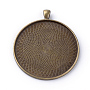 Tibetan Style Alloy Pendant Cabochon Settings, Plain Edge Bezel Cups, Flat Round, Lead Free & Nickel Free, Antique Bronze, Tray: 49mm; 62x53x2.5mm, Hole: 7x4.5mm