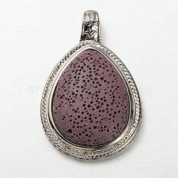 Pendentifs en pierres de lave en alliage de platine plaqué , teint, Mediumpurple, 60x39x13mm, Trou: 6mm(G-O024-06G)