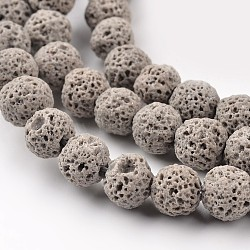 """Lave synthétique perles rondes brins, teint, grises , 6mm, trou: 1mm; environ 63 pcs/chapelet, 15.7""""(X-G-I124-6mm-13)"""