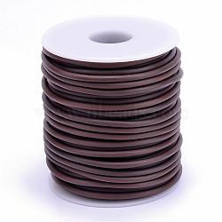 Tuyau creux corde en caoutchouc synthétique tubulaire pvc, enroulé aurond de plastique blanc bobine, marron, 2mm, trou: 1 mm; environ 50 m / rouleau(RCOR-R007-2mm-15)