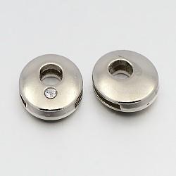 Perles coulissantes de lettre pour la fabrication de bracelet de montre, tonalité de platine breloques strass cristal en alliage à glisser, Sans cadmium & sans nickel & sans plomb, letter.o, 11~13x9~11.5x4~5mm, Trou: 7.5~8x1mm(ALRI-O012-O-NR)