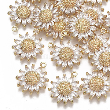 Brass Micro Pave Cubic Zirconia Pendants, Nickel Free, Daisy, Clear, Real 18K Gold Plated, 21x17x5.5mm, Hole: 1.6mm(X-KK-S354-079-NF)