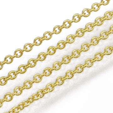 Brass Cable Chains, Soldered, Oval, Cadmium Free & Nickel Free & Lead Free, Long-Lasting Plated, Golden, 1.8x1.5x0.5mm(X-CHC-034Y-G-1)