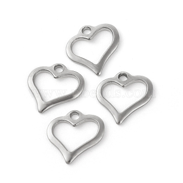 304 Stainless Steel Open Heart Charms, Hollow, Stainless Steel Color, 10.5x11x1mm, Hole: 1.6mm(X-STAS-F192-059P)