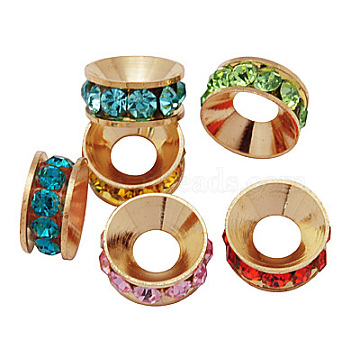 14mm Rondelle Brass+Rhinestone Spacer Beads