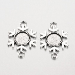 Настройки шарового сплава типа тибетского стиля, кадмия и свинца, Старинное серебро, плоские круглые лоток: 12 мм; 35x23x2.5 мм, отверстия: 3 mm(X-PALLOY-K112-02AS-RS)