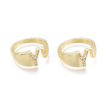 Brass Micro Pave Clear Cubic Zirconia Cuff Rings, Open Rings, Letter, Letter.Y, Size 5, Inner Diameter: 16mm; Y: 9x6.5mm(RJEW-F103-13Y-G)