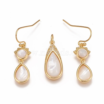 Brass Micro Pave Cubic Zirconia Jewelry Sets, Pendants and Dangle Stud Earrings, with Natural White Shell, Teardop, Golden, Pendant: 24x10x4.5mm; Hole: 3.5mm; Earrings: 32mm, Pin: 0.6mm(SJEW-F216-03B-G)