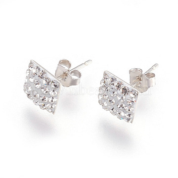 Dark pink 1 pair Austrian crystal 8mm stud earrings,silver plated