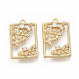 Brass Micro Pave Clear Cubic Zirconia Peg Bails Pendants, for Half Drilled Beads, Nickel Free, Real 18K Gold Plated, Rectangle with Flower & Butterfly, 21x13x3mm, Hole: 1.2mm, Pin: 0.8mm