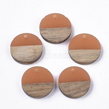 Transparent Resin & Wood Pendants, Flat Round, Coral, 18x3.5mm, Hole: 1.5mm(RESI-S358-02C-A01)