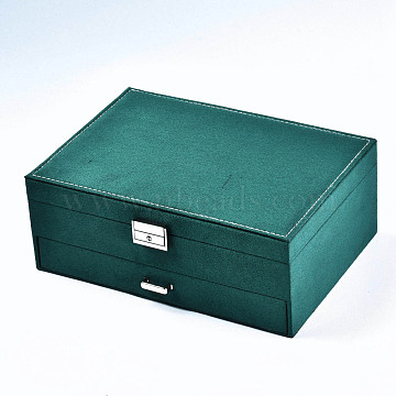 Suede Fabric Jewelry Organizer Box, with Wood Inside Box, Portable Jewelry Storage Case, for Ring Earrings Necklace, Rectangle , Teal, 27.2x19.2x10.5cm(CBOX-S021-007)
