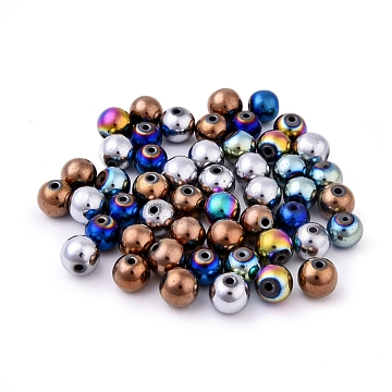 Non-magnetic Synthetic Hematite Beads, Color Plated, Grade A, Round, Mixed Color, 10mm, Hole: 1.5mm(X-G-S096-10mm-M)