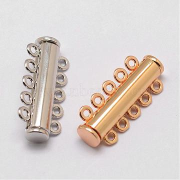 Alloy Magnetic Slide Lock Clasps, 5-Strand, 10-Hole, Tube, Mixed Color, 31x13.5x7mm, Hole: 2mm(PALLOY-P103-04)