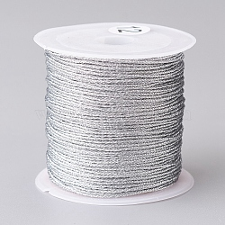 Metallic Cord, for Jewelry Making, Silver, 0.8mm, about 27.34 yards(25m)/roll(X-MCOR-CJC0001-03C)