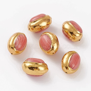 Synthetic Rhodochrosite Beads, with Golden Brass Edge, Oval, Dyed, 24~27x17.1~18.5x15~17.2mm, Hole: 1~1.2mm(G-C300-03)