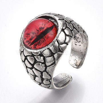 Alloy Glass Cuff Finger Rings, Wide Band Rings, Dragon Eye, Antique Silver, Red, Size 9, 19mm(RJEW-T006-04C)