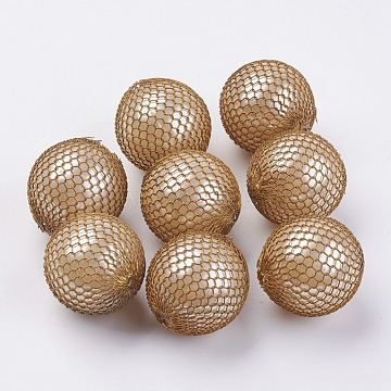 23mm Beige Round Brass Beads