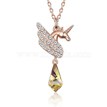 925 Sterling Silver Pendant Necklaces, with Austrian Crystal, Cable Chains, Unicorn, Rose Gold, 16.1inches(41cm)(SWARJ-BB35096)