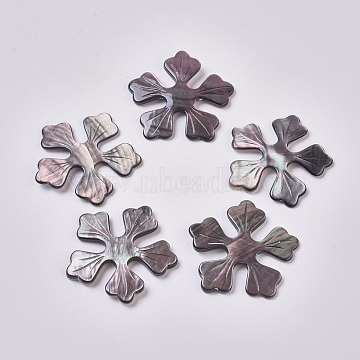 Black Lip Shell Cabochons, Flower, 41x41x3.5mm(SSHEL-L013-05)