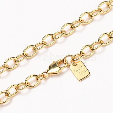 Brass Cable Chain Necklaces, with Lobster Claw Clasps, Long-Lasting Plated, Word Good Luck, Real 18K Gold Plated, 24-3/8 inches(61.8cm)(NJEW-H206-15G)