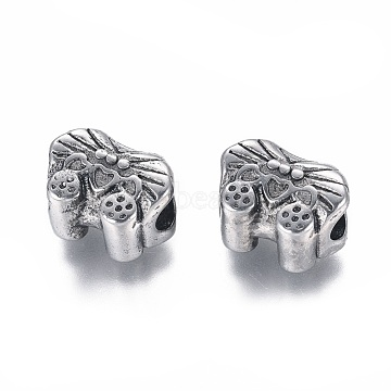 304 Stainless Steel European Beads, Large Hole Beads, Car, Antique Silver, 9x12.5x8.5mm, Hole: 5mm(STAS-I120-94AS)