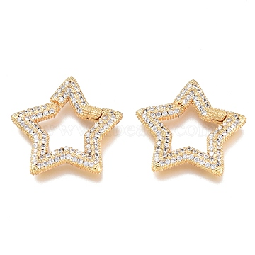 Brass Micro Pave Cubic Zirconia Spring Gate Rings, Star, Golden, Clear, 23.5x23.5x2.5mm; Inner Diamater:11.5x11.5mm(KK-M206-01G-02)